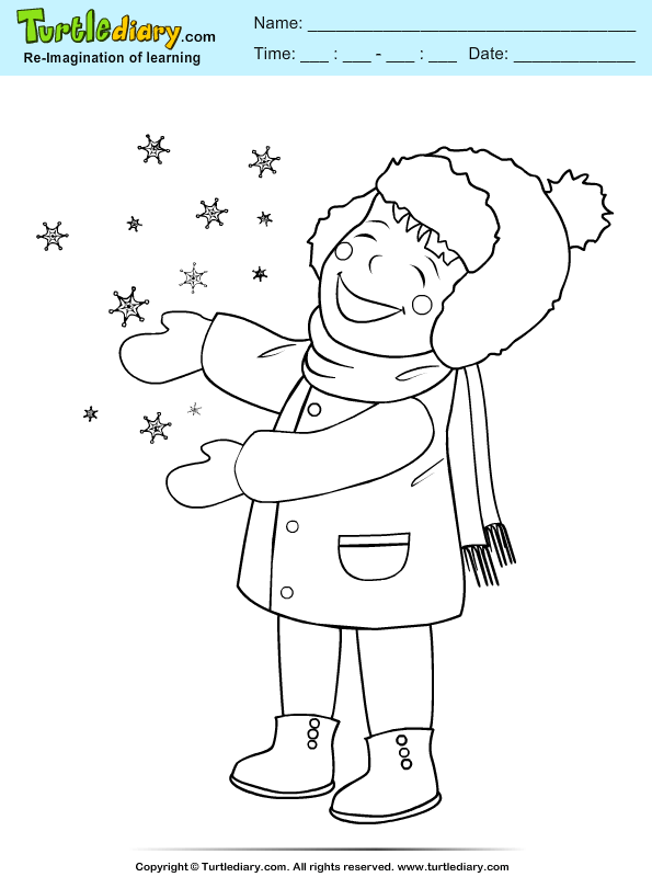 Girl Playing with Snowflake Coloring Page