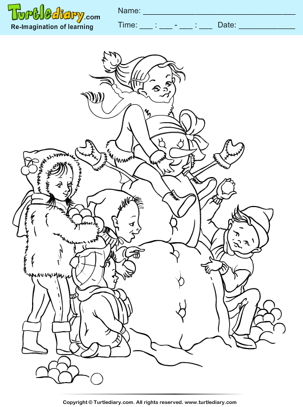 Kids Playing with Snowman Coloring Page