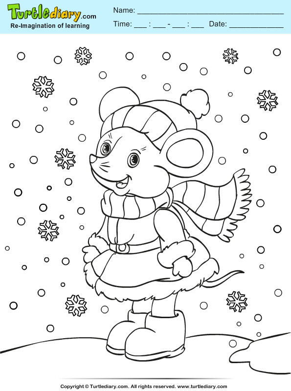 Mouse With Scarf Coloring Page