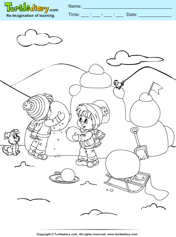 Snow Castle Coloring Page