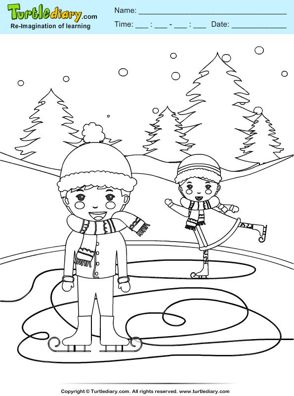 Snow Ski Coloring Page