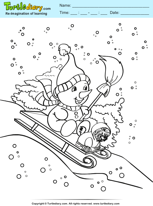 Snowman and Puppy Coloring Page