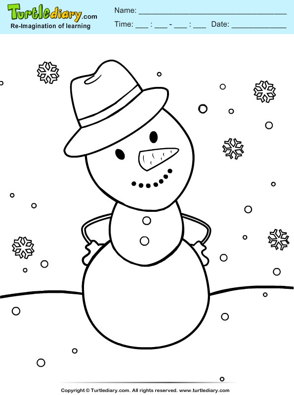 snowman tophat coloring pages - photo#32