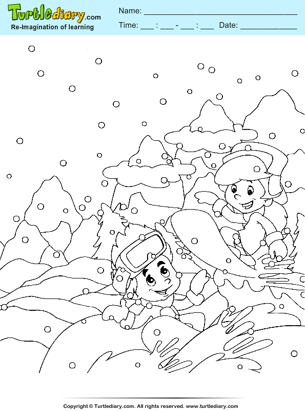 Snowskating Coloring Page