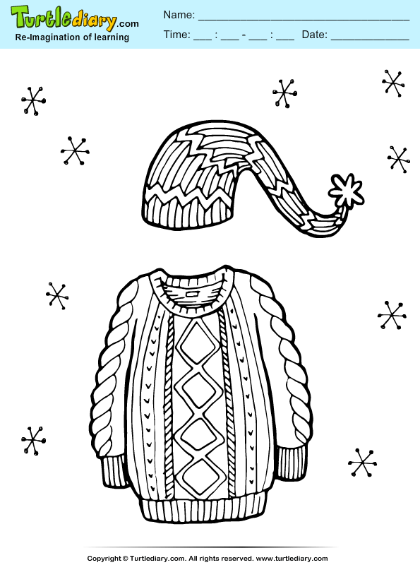 Sweater and Cap Coloring Page