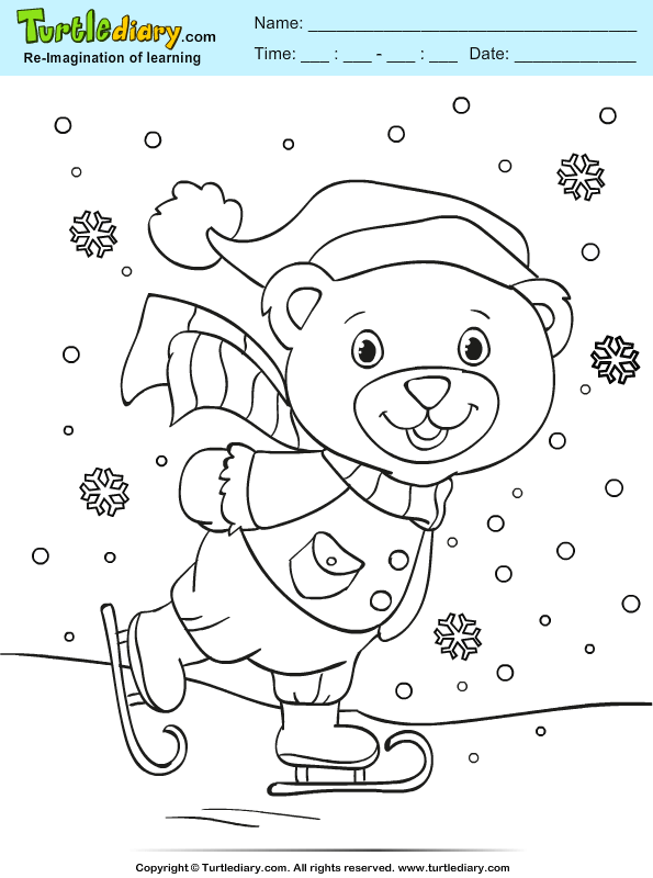 Teddy Skiing Coloring Page