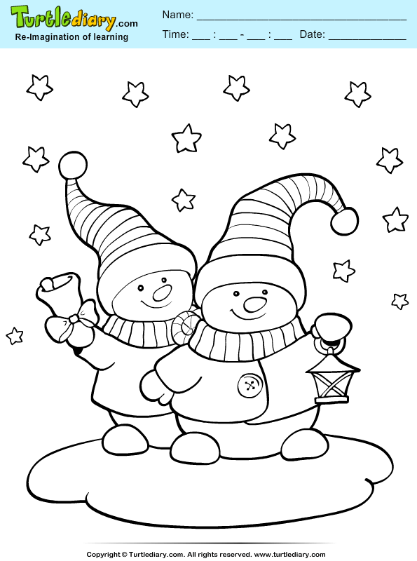 Two Snowmans Coloring Page