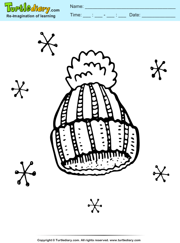 Winter Hat Coloring Pages Sheet Turtle Diary