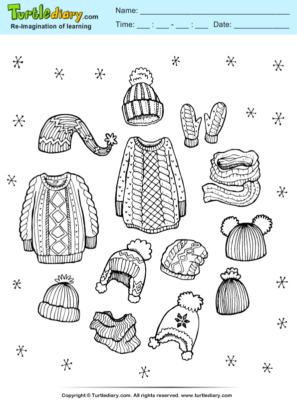 Woolen Clothes Coloring Page