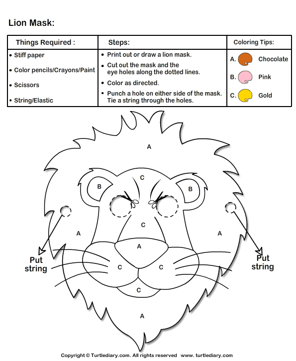 Ideas for mask making arts crafts how to make lion mask for Lion mask coloring page