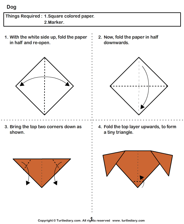 Step By Step Instructions How To Make Origami Dog. Royalty Free ... | 725x595