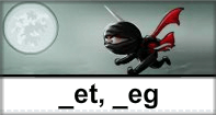 Et Eg Words Typing Ninja - -et words - First Grade