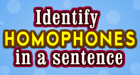 Identify Homophones in a sentence - Homonyms and Homophones - First Grade