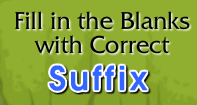 Fill in the Blanks with Correct Suffix - Compound Words - Second Grade
