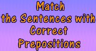 Match the Column with Correct Prepositions - Preposition - Third Grade