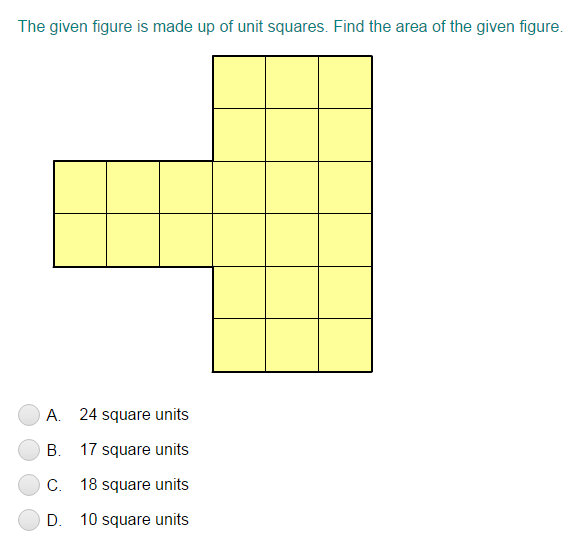 Area Of Figures Formed With Complete Unit Squares Quiz