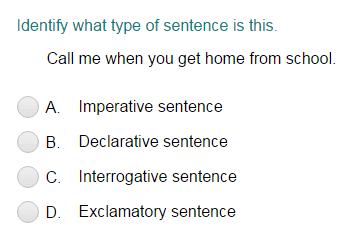 identifying a sentence as declarative imperative interrogative or