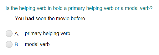 Identifying the Helping Verb as Primary Helping Verb or Modal Verb