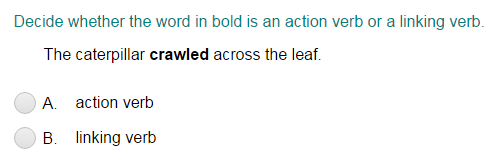 Identifying the Word in Bold as an Action Verb or a Linking Verb