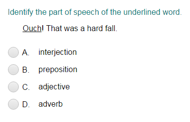 Identifying Part of Speech for the Underlined Word Part 1
