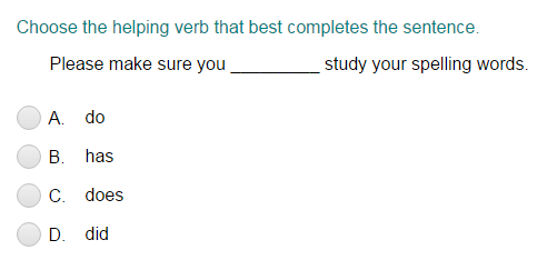 Completing the Sentence with the Correct Helping Verb Part 2
