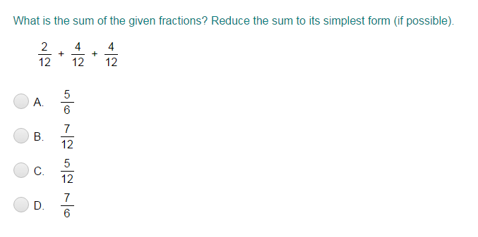 Add and Subtract Like Fractions Quiz - Turtle Diary