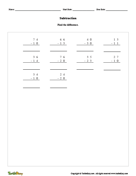 subtraction worksheet generator turtle diary. Black Bedroom Furniture Sets. Home Design Ideas