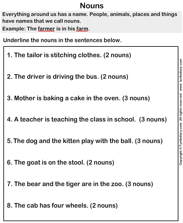 Grade+1+Noun+Worksheets Possessive Nouns Examples Examples of ...
