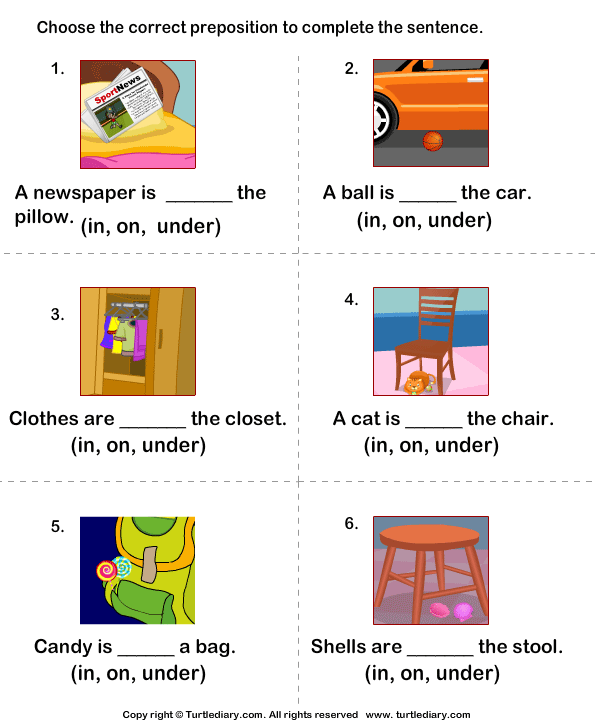 Prepositions Worksheets 1st Grade