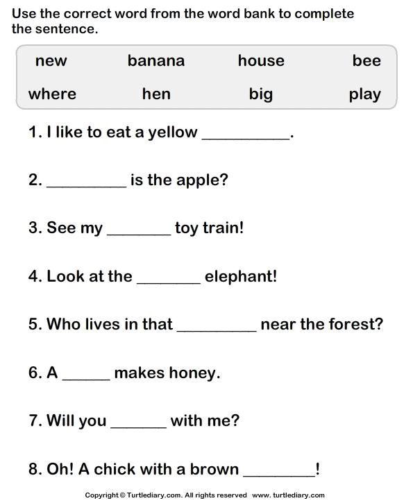 Simple Sentences Worksheets