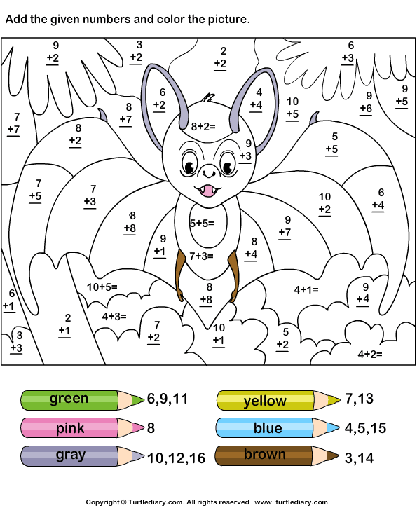 Math Worksheets Solve And Color As Well As Number Names 1-50 Worksheet ...