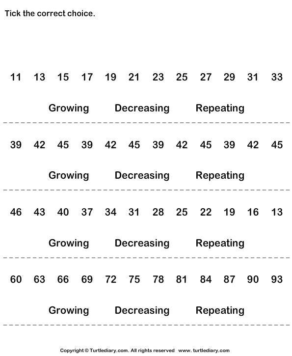 Number Sequences Worksheet – Sequences Worksheet