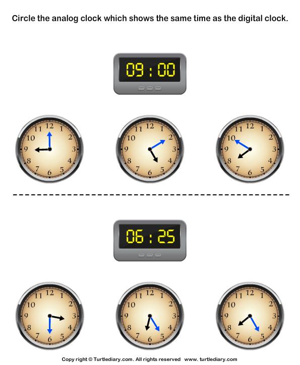 Digital clock worksheet generator