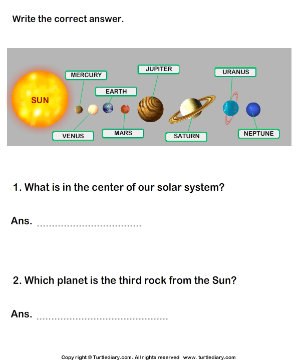 Solar System Worksheet 11
