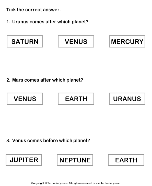 Solar System Worksheet 12