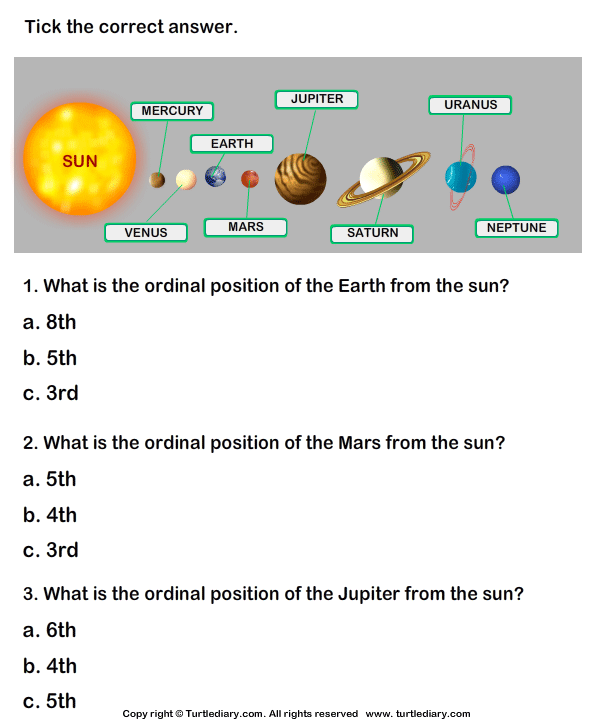 Solar System Worksheet 14