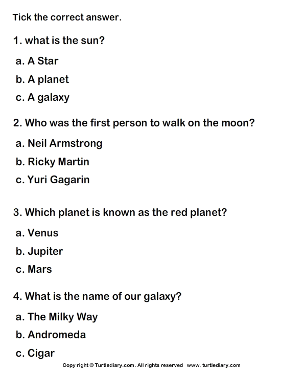 Solar System Worksheet 3