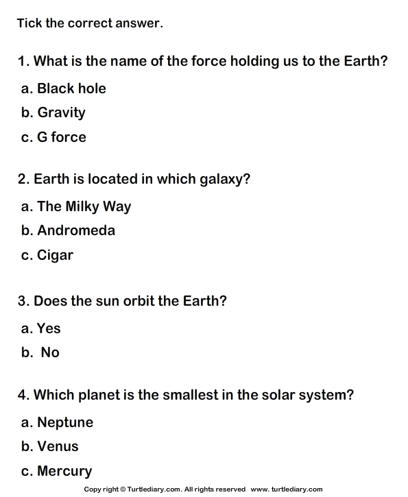 Solar System Worksheet 4