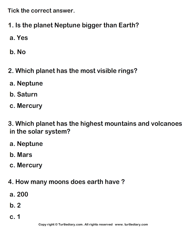 Solar System Worksheet 5