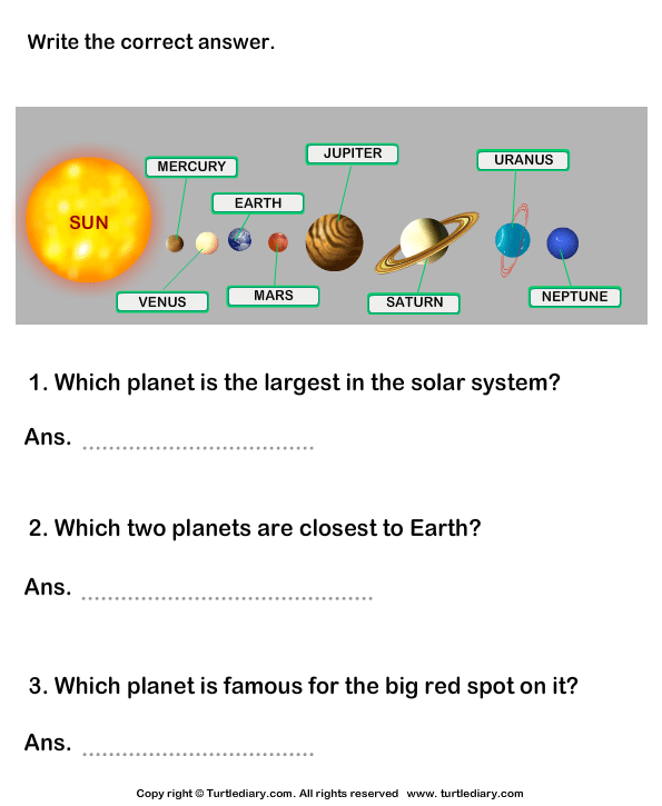 Solar System Worksheet 9