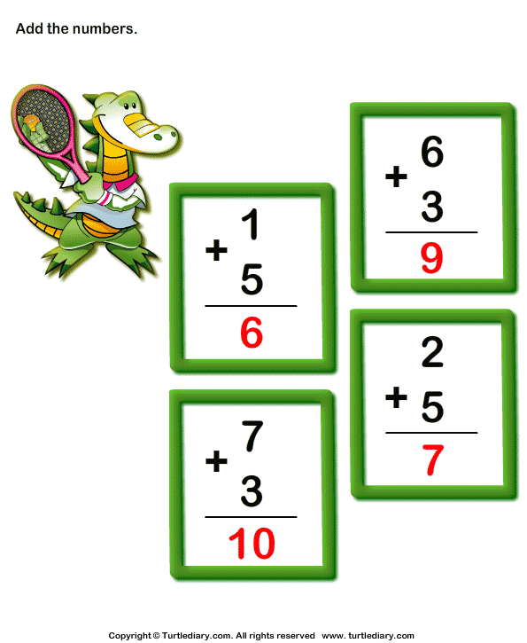 Add 1-digit Numbers Answer