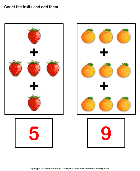 Addition with Fruits Answer