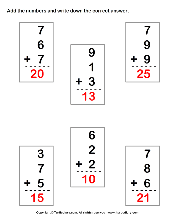 Adding Three One-digit Numbers Answer