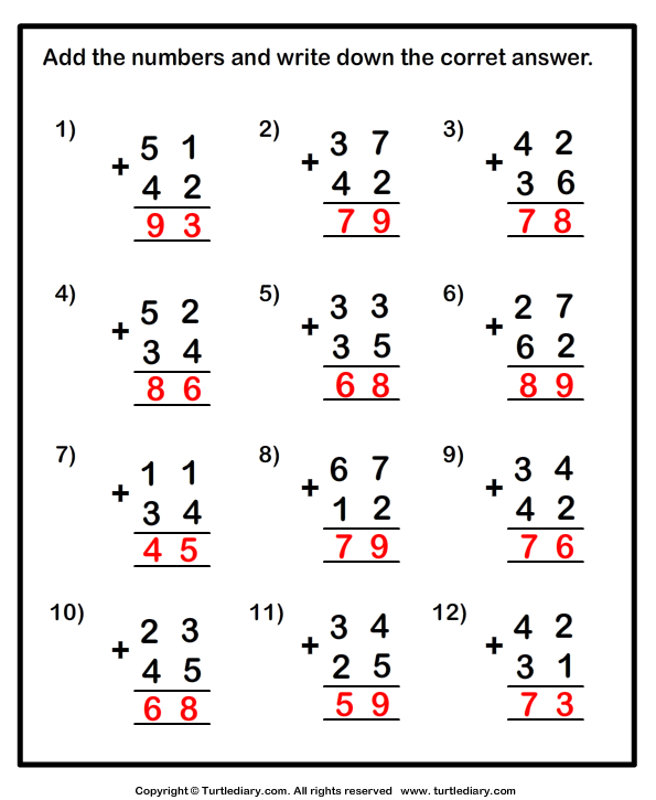 Adding Two Numbers up to Two Digits Worksheet - Turtle Diary