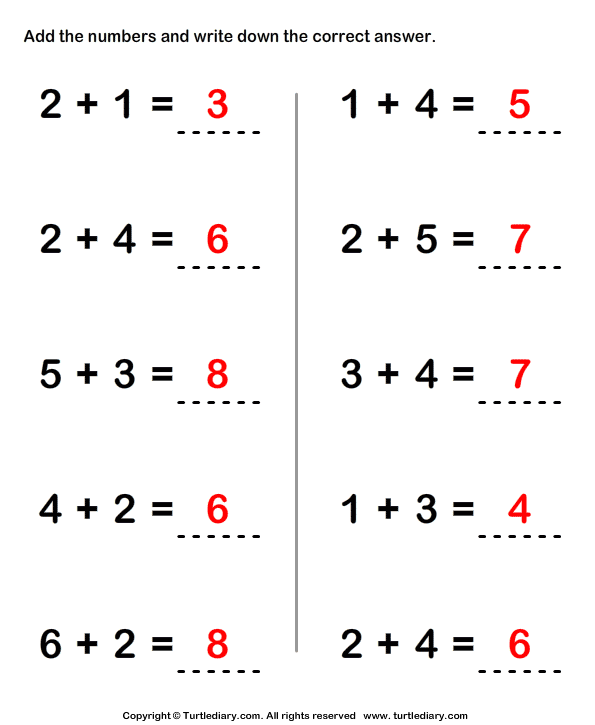 Adding Two One-digit Numbers Answer
