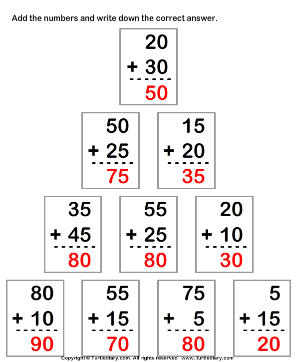 Adding Two Two-digit Numbers Answer