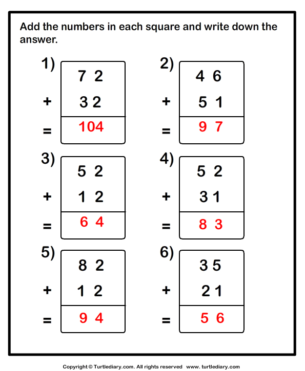 Adding Two Two Digit Numbers without Regrouping Worksheet - Turtle ...