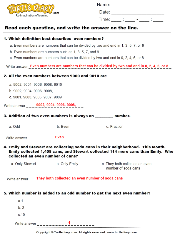Even Numbers : Multiple Choice Questions Answer