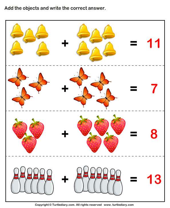 Addition with Pictures Answer