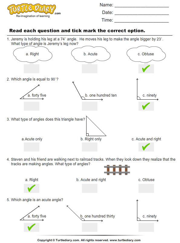 Angles : Multiple Choice Questions Answer
